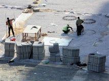 Travaux sur la construction des routes et des boulevards image stock