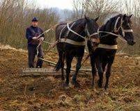 Travaux sur le terrain de ressort dans les zones rurales de la Transcarpathie Image libre de droits