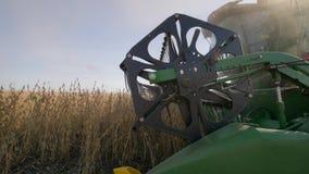 Travaux sur le terrain saisonniers, soja de récoltes de cartel pendant le rendement de rassemblement pendant le travail d'agricul banque de vidéos