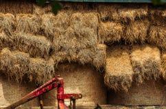 Travde sugrörbaler på skyddet Arkivbild
