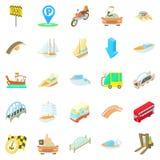Trave os ícones ajustados, estilo do táxi dos desenhos animados Foto de Stock Royalty Free