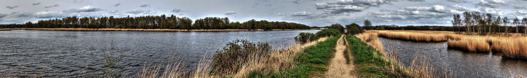 Trave Panorama. The Trave river in North Germany ner the Baltic Sea Stock Images