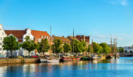 The Trave River in Lubeck - Germany Stock Images