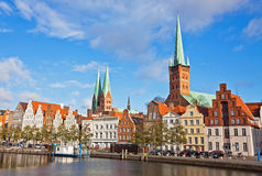Trave river in Lubeck old town, Germany Royalty Free Stock Photos