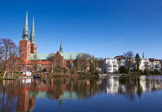 Trave river, old town of Lubeck Stock Image
