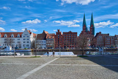 Trave river, old town of Lubek. Germany. LUBECK, GERMANY - APRIL 5, 2015: Old part of Lubeck, is the second largest city in Schleswig-Holstein, northern Germany Royalty Free Stock Photography