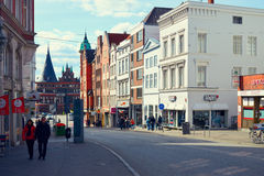 Trave river, old town of Lubek. Germany. LUBECK, GERMANY - APRIL 5, 2015: Old part of Lubeck, is the second largest city in Schleswig-Holstein, northern Germany Royalty Free Stock Photos