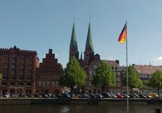Trave river, old town of Lubek. Germany Royalty Free Stock Images