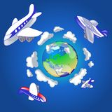 Travel 1. Illustration of airplanes flying around the world. Air-fare concept vector illustration