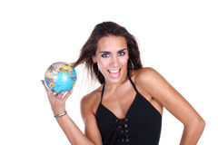 Travel. Woman with globe in hand Royalty Free Stock Photo