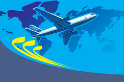 Travel. Airplane flying with world map background Stock Image