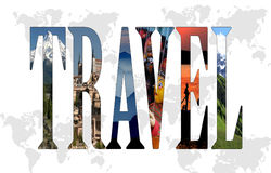 Travel. Concept with filled letters and world silhouettes as a backdrop Stock Image