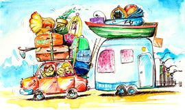 Travel. Happy family traveling on holidays.Picture I have created myself with watercolors Royalty Free Stock Photos