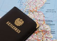 Travel. Ling to Great Britain, passport and map of England stock image