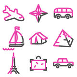 Travel 2 web icons, pink contour series Stock Photo