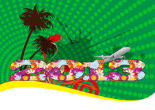 Travel 2013. Illustration of 2013 text floreal with airplane and palm royalty free illustration