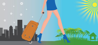 Travel. The figure shows a girl with a suitcase Royalty Free Stock Photos