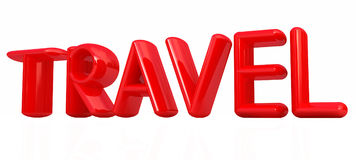 travel 3d red text Stock Photos
