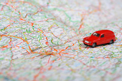Travel. Photo of a Map with Toy Car Stock Photo
