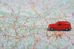 Travel. Photo of a Map with Toy Car Royalty Free Stock Photo