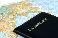 Travel. With passport and map Royalty Free Stock Image