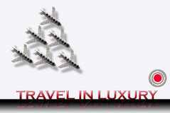 Travel. Luxury travel and airplanes concept illustration isolated on white background Stock Image