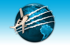 Travel. Globe with blue map texture and airplane Stock Photos