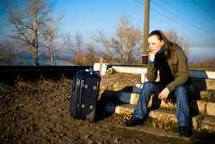 Travel. Young women waiting for the train Stock Photography
