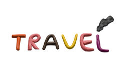 Travel. Plasticine word isolated on a white background Stock Image
