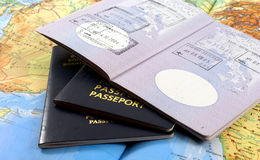 Travel. Concept;passport and map Royalty Free Stock Images
