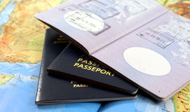 Travel. Concept;passport and map Royalty Free Stock Photo