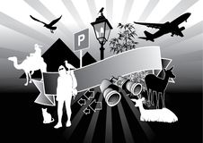 Travel. Graphic composition with several around the world silhouettes Royalty Free Stock Photo