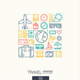 Travel abstract background, integrated thin line symbols. Illustration in editable EPS and JPG format. Travel integrated thin line symbols. Modern linear style royalty free illustration