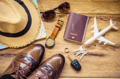 Travel accessories apparel along for the trip. Travel accessories apparel along for the trip Stock Image