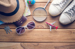 Travel accessories apparel along for the trip. Travel accessories apparel along for the trip Royalty Free Stock Photo