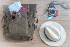 Travel accessories background stock photos