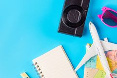 Travel accessories costumes concept for summer vacation trip. Pa Royalty Free Stock Photo