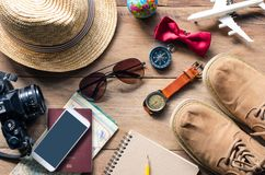 Travel accessories costumes The cost of travel Royalty Free Stock Images