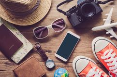 Travel accessories costumes The cost of travel Stock Photo