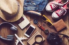 Travel accessories costumes. The cost of travel Royalty Free Stock Photography