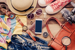 Travel accessories costumes The cost of travel. Travel accessories costumes, luggage, The cost of travel prepared for the trip Stock Image