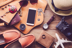 Travel accessories costumes. The cost of travel. Travel accessories costumes. Passports, luggage, The cost of travel maps prepared for the trip Stock Images
