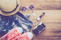 Travel accessories costumes. The cost of travel prepared for the. Trip Stock Images