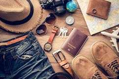 Travel accessories costumes. The cost of travel Stock Photography