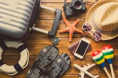 Travel accessories costumes The cost of travel Stock Images