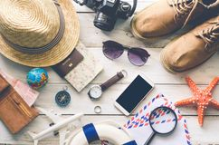 Travel accessories costumes The cost of travel Royalty Free Stock Image