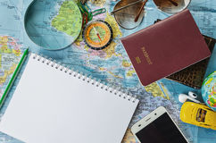 Travel accessories costumes. Passports, luggage, eyewear Stock Images