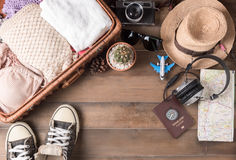 Travel accessories costumes. Passports, luggage, vintage camera Stock Photos