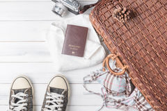 Travel accessories costumes. Passports, luggage, vintage camera Royalty Free Stock Photo