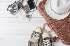 Travel accessories costumes. Passports, luggage, vintage camera Royalty Free Stock Photos